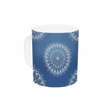 "KESS InHouse Julia Grifol ""Blue Harmony"" Blue White Digital Ceramic Coffee Mug, 11oz, Multi"