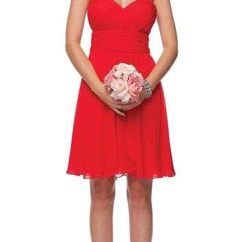 Short Chiffon Bridesmaid Red Dress Sweetheart Neck Corset Back