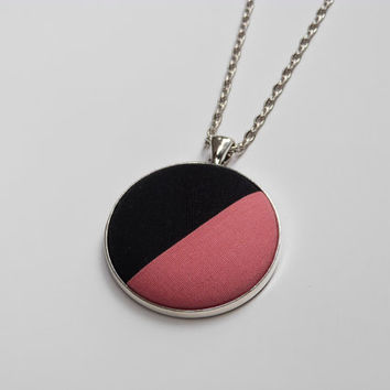 Modern Coral Salmon Pink Color Block Necklace, Fabric Button Pendant, Asymmetrical Minimalist Jewelry, Fun and Bright Simple Necklace