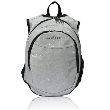 Obersee Pre-School Sparkle Backpack with Integrated Snack Cooler - Silver