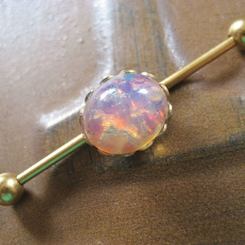 Opal Industrial Barbell Piercing Earring Jewelry- Pink Stone Titanium Gold Gem 14g 14 G Gauge
