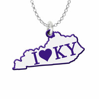 I Love Kentucky Silver State Necklace with Color Accent