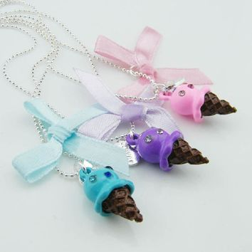 3 pieces/set !Fashion Jewelry Silver Color Ball Chain Knot Candy Color Ice Cream Heart Best Friends Forever Necklaces