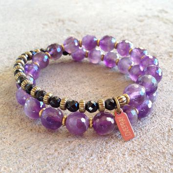 Healing and Soothing, Amethyst and Onyx 27 Bead Wrap Mala Bracelet