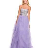 Lilac Strapless Embellished Sweetheart Ball Gown 2015 Prom Dresses