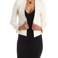 Ivory Layered Lapel Textured Blazer by Charlotte Russe