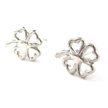 Four Leaf Clover Shaped Floral Stud Earrings in Silver | DOTOLY