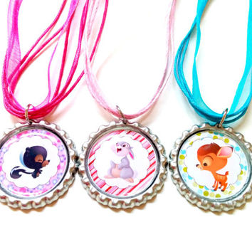 Animal Cute Necklaces - Toddler and Girls Jewelry , Bottle cap.