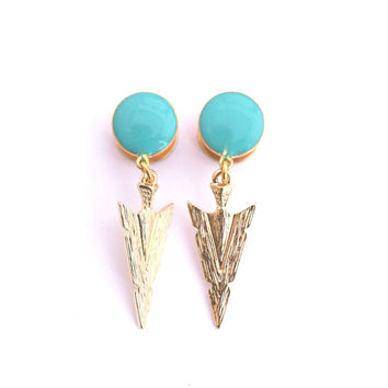 Teal and Gold Arrowead Dangle Plugs / 6g, 4g, 2g, 0g, 00g, 1/2in, 9/16in, 5/8in / Gold Arrow Dangle Gauges / Gold Plugs / Boho Earrings