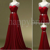Long Burgundy Beaded Prom Dresses Bridesmaid Dresses Formal Party Evening Dresses Homecoming Dresses Wedding Dresses
