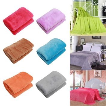 1 PCS  Super Soft Warm Solid Warm Micro Plush Fleece Blanket Throw Rug Sofa Bedding 2017