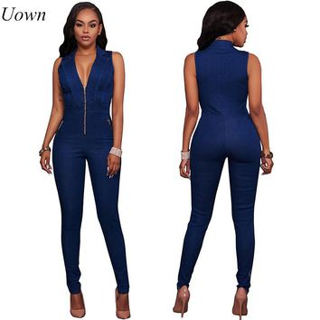 Womens Jeans Jumpsuits Denim Long Pants Sexy Deep V Neck Slim Overalls Jumpsuit Girl Sleeveless Club Wear Bodysuit Romper Zipper