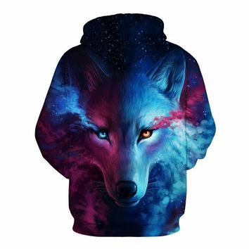 Star Wolf 3D Digital printing hoodie Baseball costume winter and autumn explosive set head clothes couple outfit