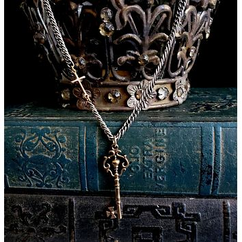 Old World SOLID BRONZE Key and Sideways Gold Cross Silver Chain Necklace
