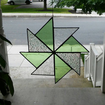 Stained Glass pinwheel suncatcher in green & iridescent clears, glass art, suncatchers, stained glass window, quilt square, hip chick glass