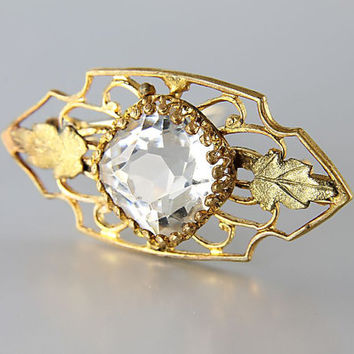 Antique Art Deco Brooch, Rock crystal brooch pin open back, leaf brooch, Antique jewelry