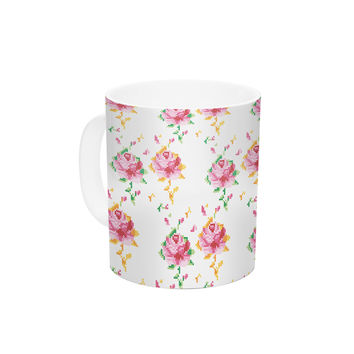 "Laura Escalante ""Cross Stitch Flowers"" White Pink Ceramic Coffee Mug"