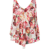 Pink Floral Print Double Layer Sleeveless Top