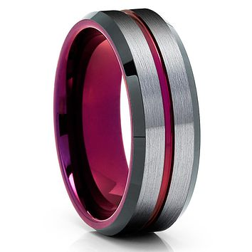 Purple Tungsten Wedding Band - Gray Tungsten Ring -Purple Wedding Ring