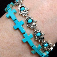 Turquoise Cross Stretch Bracelet from Black Tied