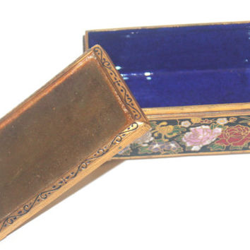 Vintage Cloisonne Jewelry Box, Rectangle Trinket Box, Enamel Box, Floral, Antique Alchemy