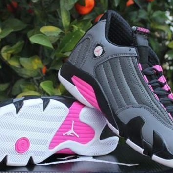 [Free Shipping ]New Nike Air Jordan 14 Retro Grey / Pink Basketball Sneaker