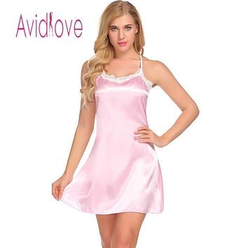 Babydoll Sexy Satin Chemise Slip Women Lace-Trimmed Nightwear with G-String