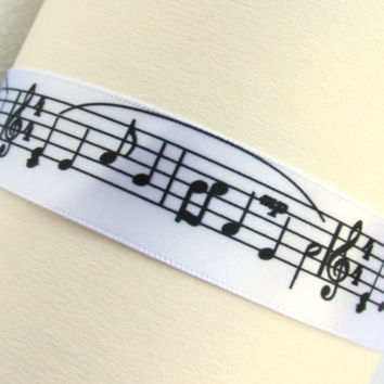 Treble Clef Choker, White Satin Ribbon, Musician Necklace, Music Note Jewelry, Music Gift Idea, Holiday Music, Orchestra, Music Note Choker