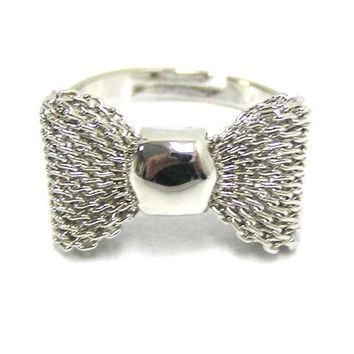 Bow Tie Ring Adjustable Silver Tone Chainmail Ribbon RE19 Statement Fashion Jewelry