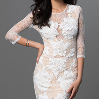 Three Quarter Length Sleeve Short Lace Dress