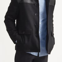 Melton PU Shoulder Coat
