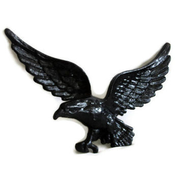 EAGLE has landed. Cast IRON vintage wall decor 3 lbs HEAVY cool black bird Large wall hanging Painted black, Hollywood Regency, 3d sculpture