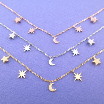 Beautiful Crescent Moon and Bright Night Stars Shaped Charm Necklace