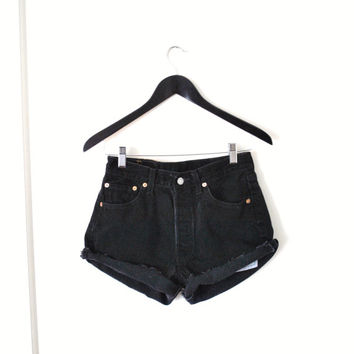 80s black denim LEVIS button fly high waisted cut off shorts