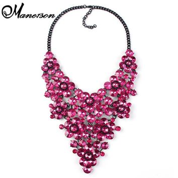 2016 Fashion Gem Luxury Vintage Accessories Necklaces & pendants Maxi Flower Colorful Statement Necklace Jewelry 2231