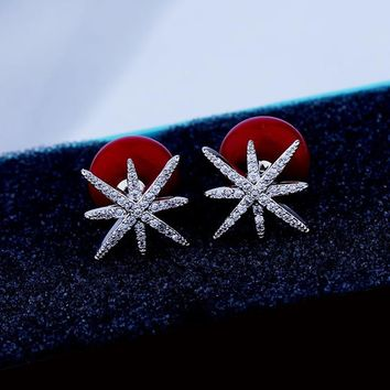 High Quality Cubic Zirconia Snowflake Earrings Fashion Imitation Pearl Double Sided Silver Color Stud Earrings Party Jewelry