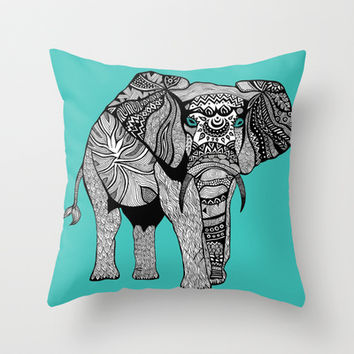 Tribal Elephant Black and White Version Throw Pillow by Pom Graphic Design