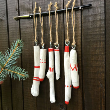 Red christmas tree ornament set Primitive christmas ornament Azteck christmas ornament Red Driftwood christmas ornament  Handmade christmas