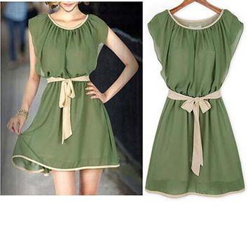 Womens Chiffon Dress - Modern Peasant Style / Emerald Green