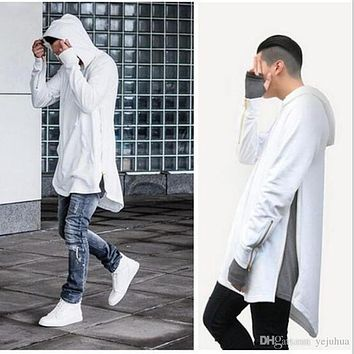 Men's Pullover Hoodie Long Sleeve Sweatshirts Mental Zipper Hoodie Casual Jackets Autumn Winter Hip-Hop Loose Coat Lovers