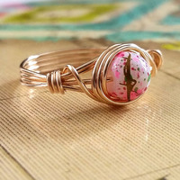 Unique Ring, Wire Wrapped Jewelry Handmade, Cherry Blossoms, Japanese Inspired, Gold-Filled Jewelry