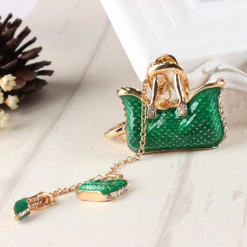 Two Green Handbag High Heel Shoe New Fashion Cute Rhinestone Crystal Car Purse Key Chain Jewelry Creative Party Gift