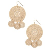 Filigree Medallion Drop Earrings