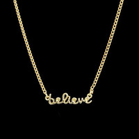 Believe Necklace gold necklace delicate necklace faith necklace
