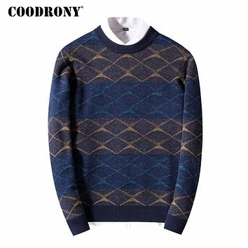 Merino Wool Sweater Men New Thick Warm Knitted Cashmere Sweaters Fashion Striped O-Neck Pullover Home