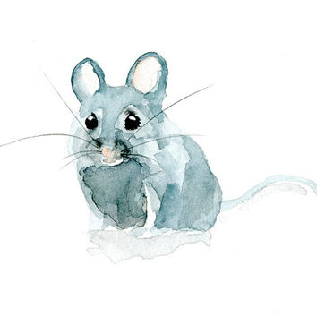 Mouse Watercolor Painting - Giclee Print - Animal Painting - Watercolor Animals Mouse illustration - Nursery Home decor Mouse drawing