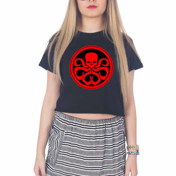 Captain America Hydra Logo For Womens Crop Shirt ***