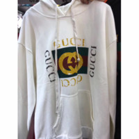 Gucci Fashion Long Sleeve Hooded Print Embroider Casual Sweater White