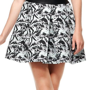 Multicolor Bird Jacquard Structured Pleats Skirt
