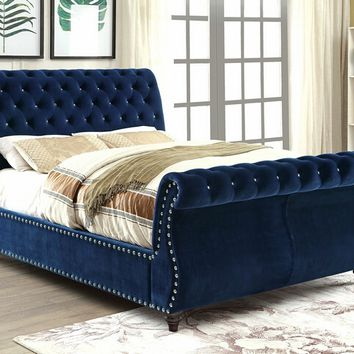 Noella collection navy padded flannelette fabric upholstered and tufted sleigh queen bed frame set